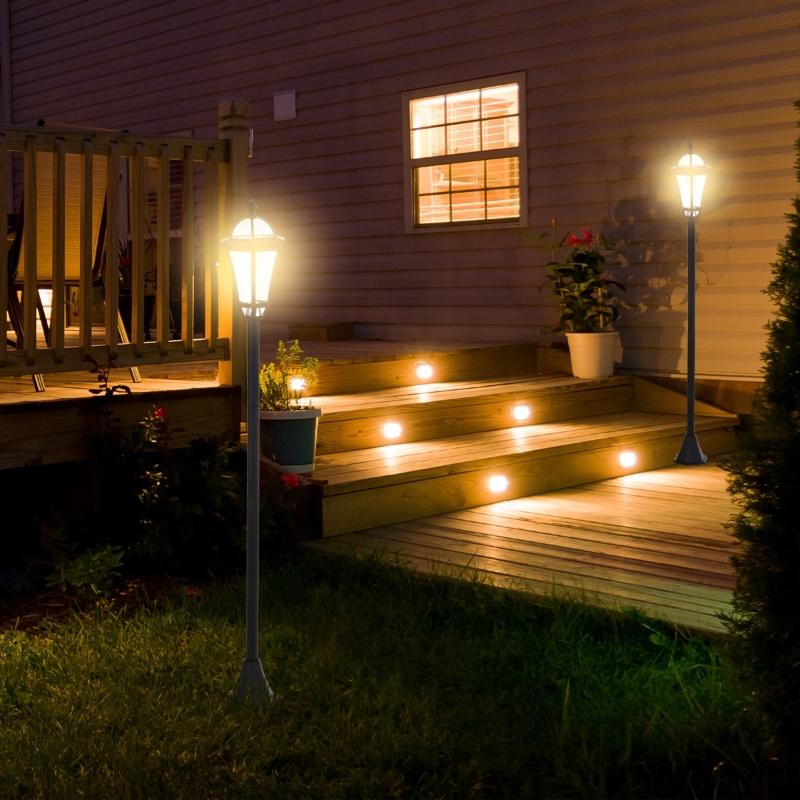 Outsunny® Gartenleuchte Solar Gartenlaterne 2er Set LED Laterne 6-8 Stdn. Edelstahl H129cm