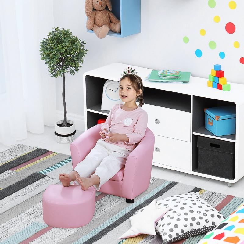 HOMCOM® Kindersessel Minisessel mit Fußhocker Kindersofa Mädchen für 3-6 Jahre alt
