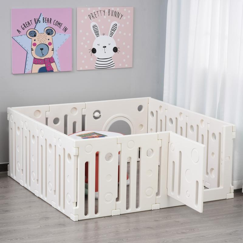 HOMCOM® Baby Laufgitter 14 Elemente Schutzgitter mit Tür und Spiel HDPE PP Weiß