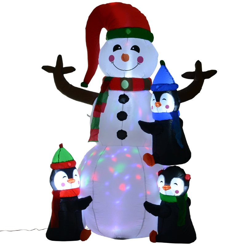 HOMCOM Aufblasbarer LED-Schneemann mit 3 Pinguinen   Polyester   140 x 70 x 180 cm   Mehrfarbig