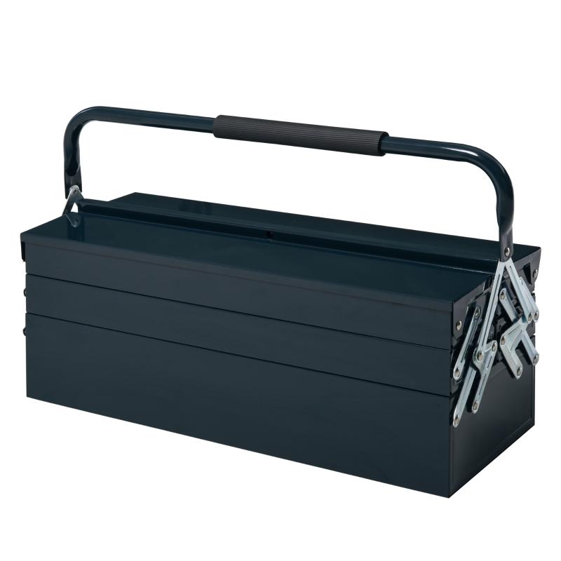 DURHAND® Werkzeugkasten 5 Fächer Werkzeugkoffer Stahl Dunkelgrün 57x21x41cm