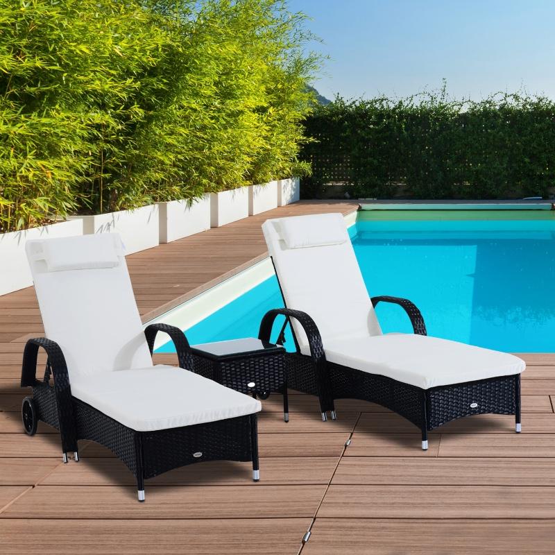 Outsunny® Sonnenliege Tisch 3er Set Gartenmöbel Polyrattan Schwarz