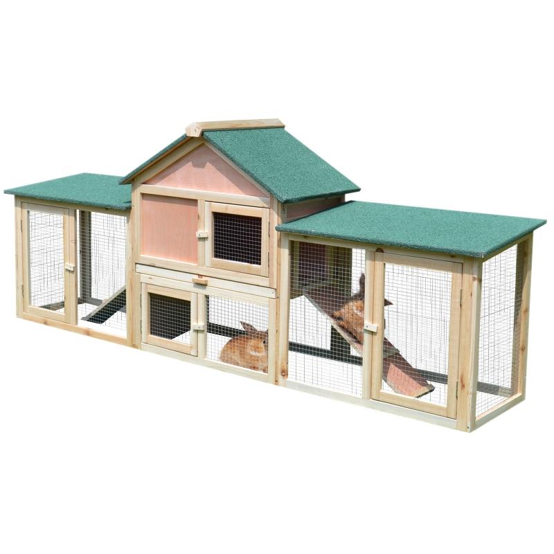 PawHut® Hasenstall Hasenkäfig Doppelstöckiger Kaninchenstall mit Freigehege Holz