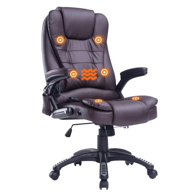 HOMCOM® Drehstuhl Massage- und Wärmefunktion 62 x 68 x 111 – 121 cm Braun