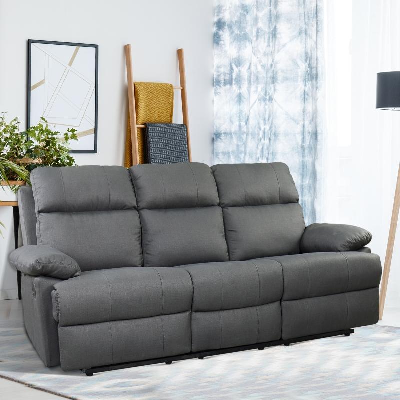 HOMCOM® 3-Sitzer Fernsehsofa   Relaxsofa   Leinen   185 x 95 x 97 cm   Dunkelgrau