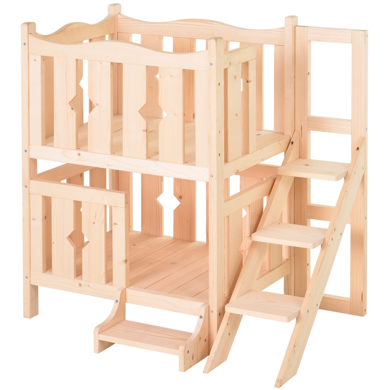 PawHut® Katzenbett 2 Ebenen Haustierbett Welpenbett Katzenhaus mit Treppe Tannenholz