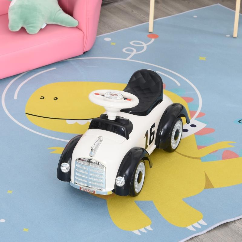 HOMCOM® Kinderauto Kinderfahrzeug klassisch Laufhilfe Hupe mit Music (Weiß)