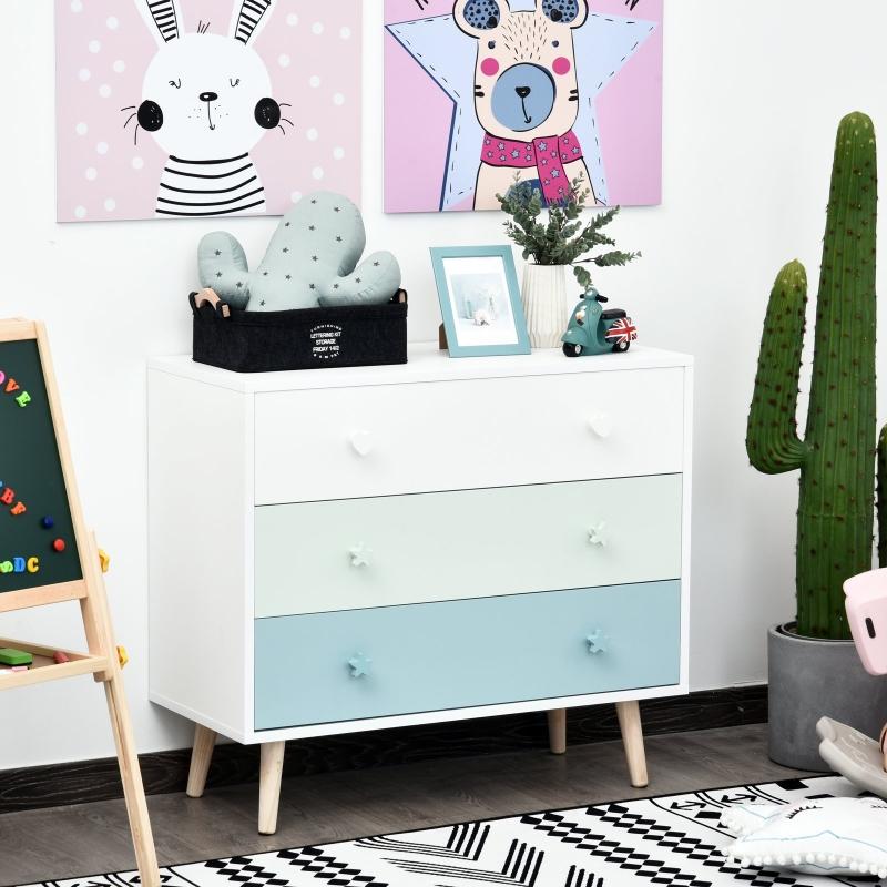 HOMCOM® Kinderzimmer Schrank 3 Schubladen Kinderschrank Kommode Aufbewahrung MDF Blau