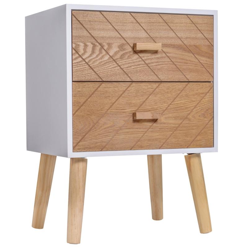 HOMCOM® Nachttisch Nachtkommode Flurkommode mit 2 Schubladen Holz weiß+natur 40 x 30 x 55,5 cm