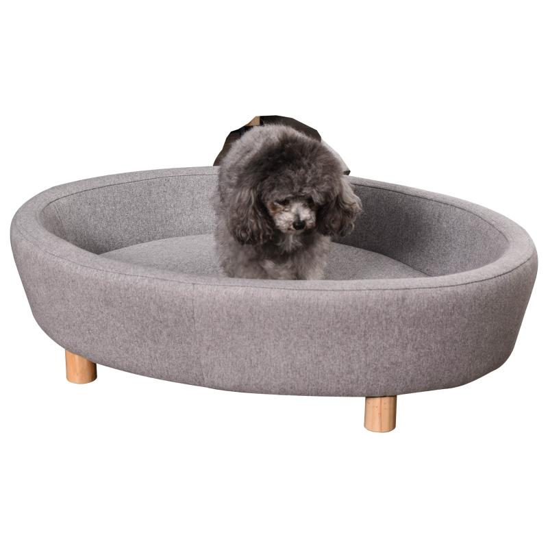 PawHut® Haustiersofa Hundesofa mittelgroßen Hunde Katzen Oval Grau