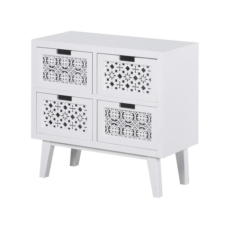 HOMCOM® Nachttisch mit 4 Schubladen Erhöhter Nachtschrank Beistelltisch Massivholz Weiß