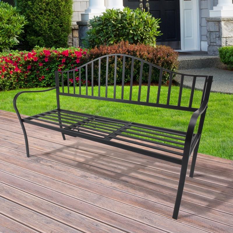 Outsunny® Gartenbank 2 Sitzer Sitzbank Parkbank Metallbank Bankauflage mit Armlehne mit Klappbeistelltisch Schwarz 150 x 53 x 95 cm