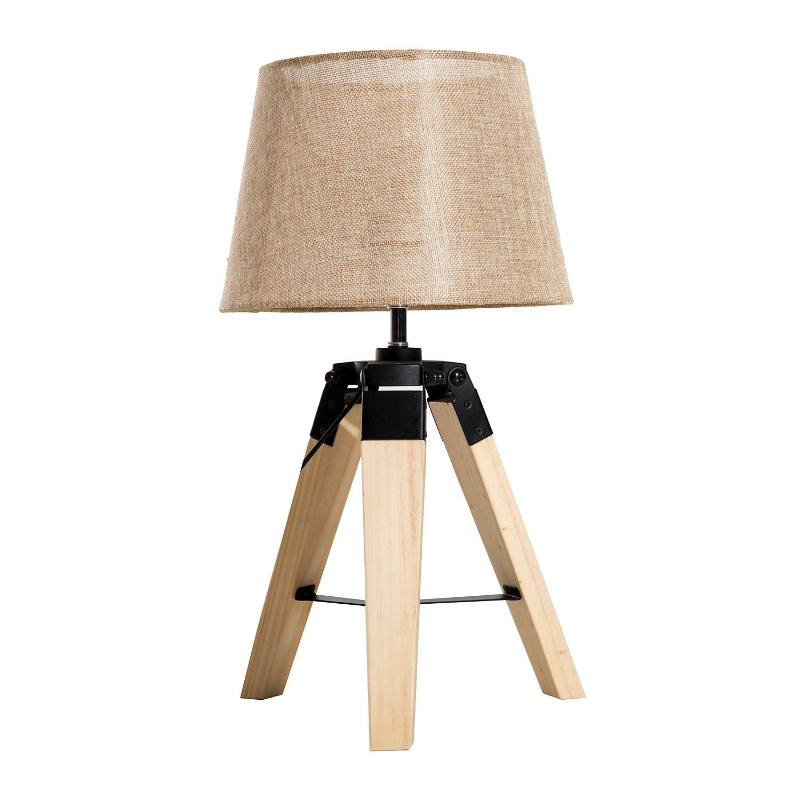 HOMCOM® Nachttischlampe modern Tischlampe Tischleuchte  E27 Leinenoptik Kiefernholz
