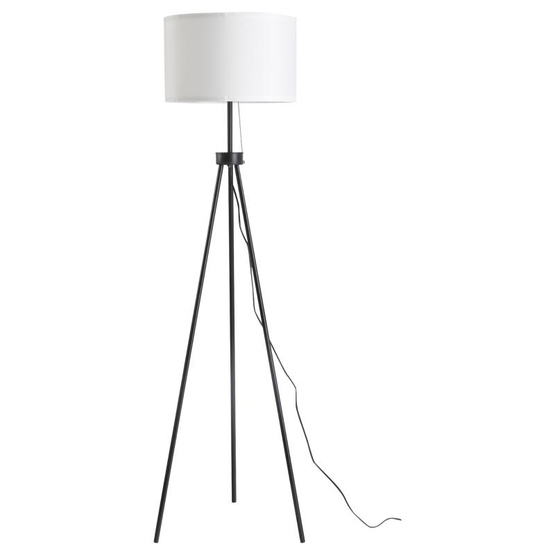 HOMCOM® Stehlampe Schwarz+Weiß Stehleuchte Standleuchte E27 Stahl 37x37x152cm