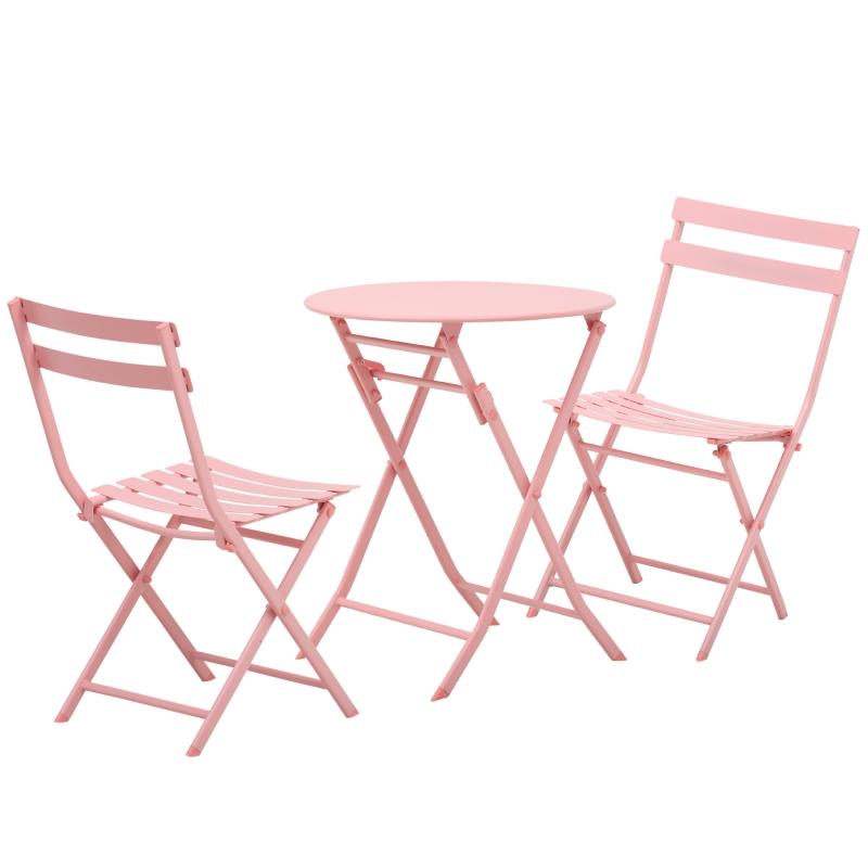 Outsunny® Gartenset Garnitur Metall-Möbel 3 TLG. Bistrotisch mit 2 Stühlen Rosa