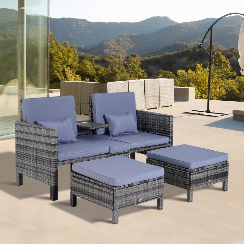 Outsunny® 3-tlg. Gartensofa Gartenmöbel Lounge Rattanmöbel Grau Polyrattan + Metall 2er-Sofa 2 x Hocker Kissen