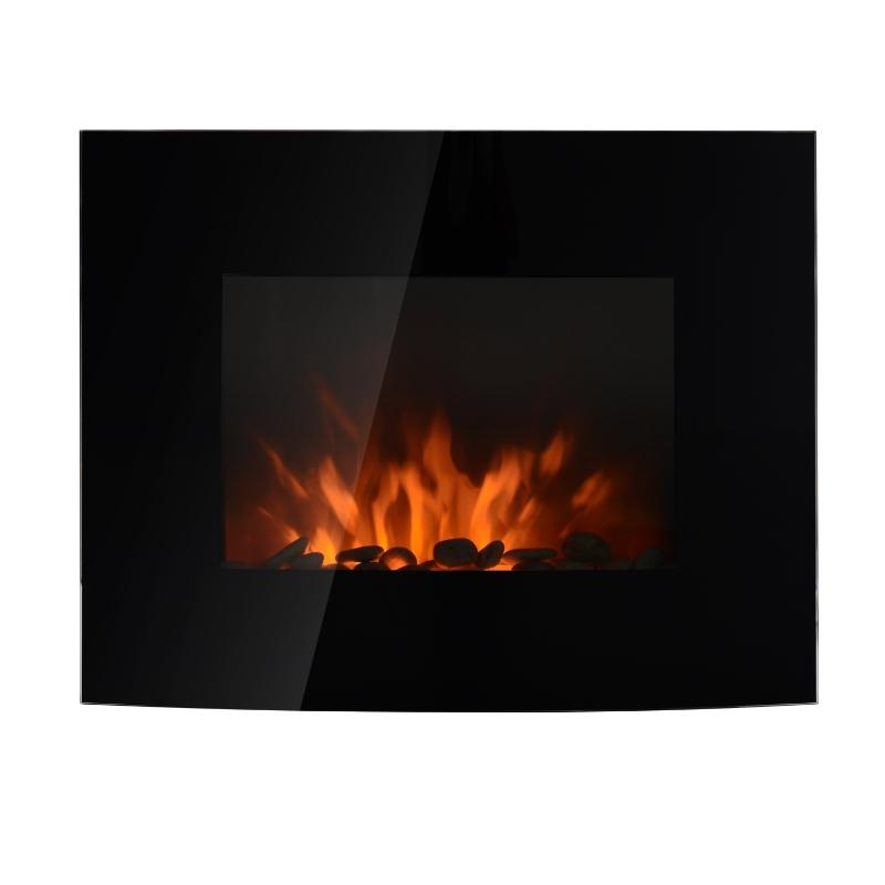 HOMCOM® Elektrokamin mit Fernbedienung | LED Flamme | 2 Heizstufen | 65 x 11,5 x 52cm | Schwarz