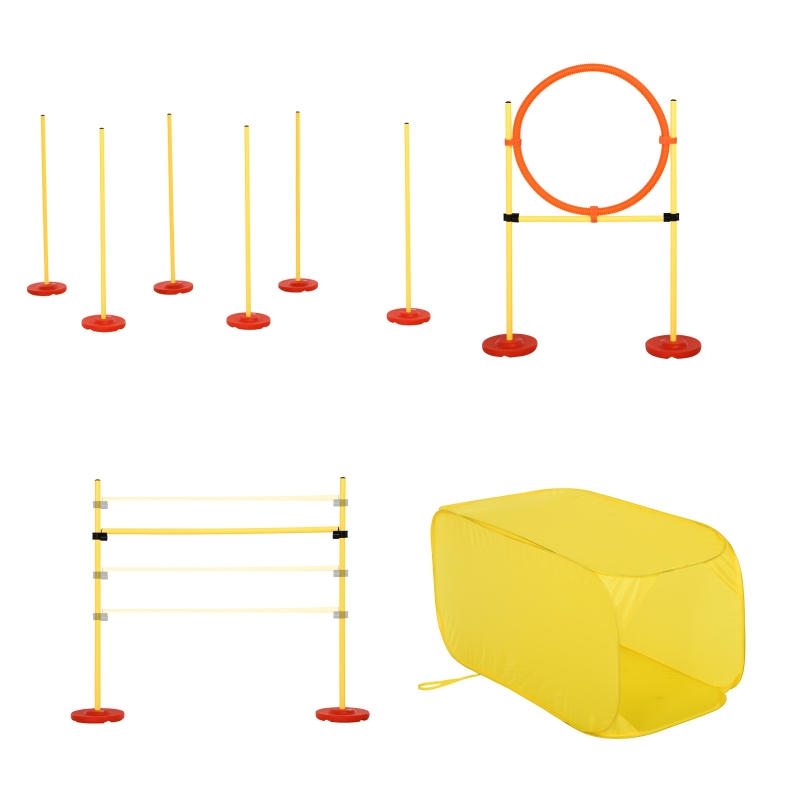 PawHut® Agility Hürden Set Hundetraining Hindernislauf Kunststoff Polyester Gelb