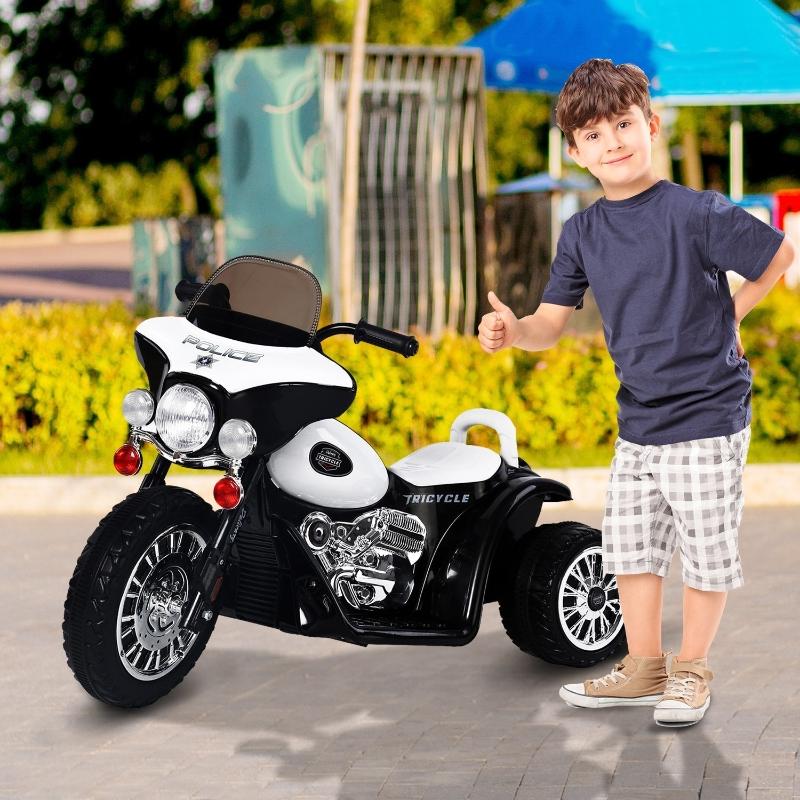 HOMCOM® Elektro Kindermotorrad   Kunststoff, Metall   80 x 43 x 54,5 cm   Schwarz, Weiß