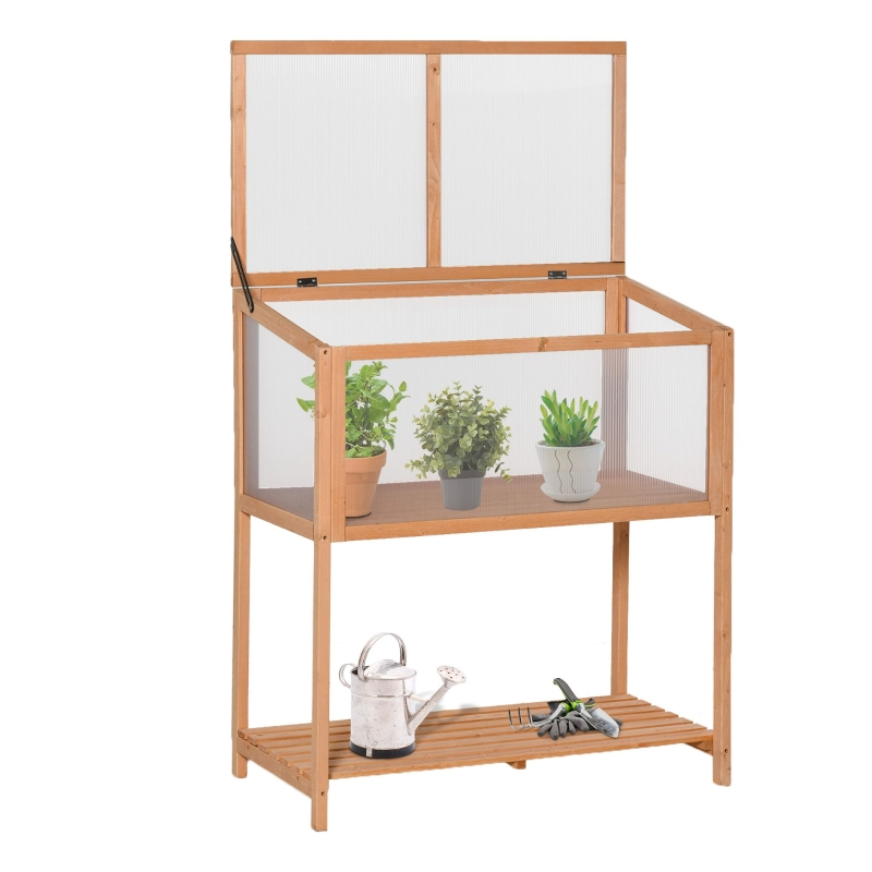 Outsunny® Hochbeet aus Holz Frühbeet Kräuterbeet für Garten Balkon Orange Holz PC-Platte