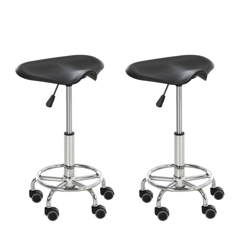 HOMCOM® Sattelhocker für Büro Salon Massage verstellbar Drehhocker Rollhocker Schwarz