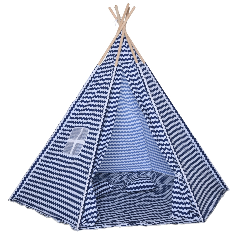 HOMCOM® Kinder Tipi Zelt Spieltipi Polyester Tannenholz 3-8 jahren Blau+Weiß