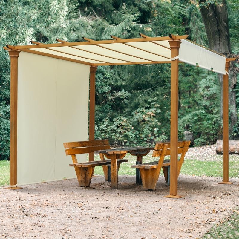Outsunny® Pavillon Pergola Überdachung Sonnenschutz Einstellbares Stoffdach Polyester
