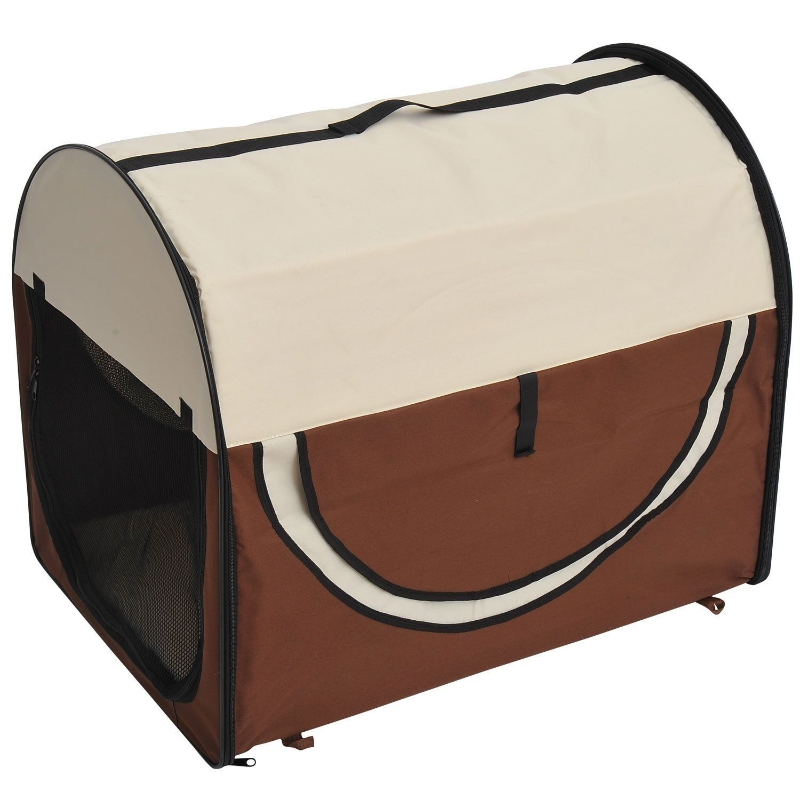 PawHut® Hundetransportbox, faltbar, Größe XL - 81x56x66 cm, kaffeebraun-creme