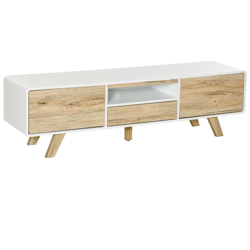 HOMCOM® TV Schrank TV Lowboard mit Push-In-Design Schublade MDF Weiß+Natur
