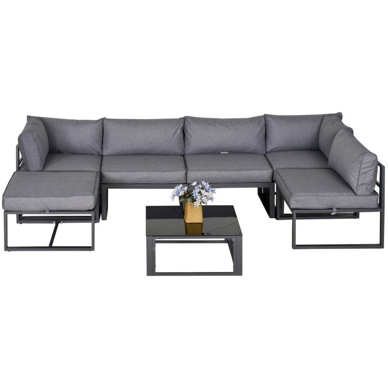 Outsunny® 7-tlg. Gartengarnitur Gartenmöbel-Set mit Beistelltisch mit Kissen Aluminium