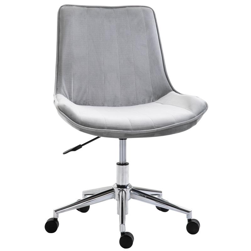 HOMCOM Bürostuhl Drehstuhl höhenverstellbar 360° drehbar Samtstoff Grau