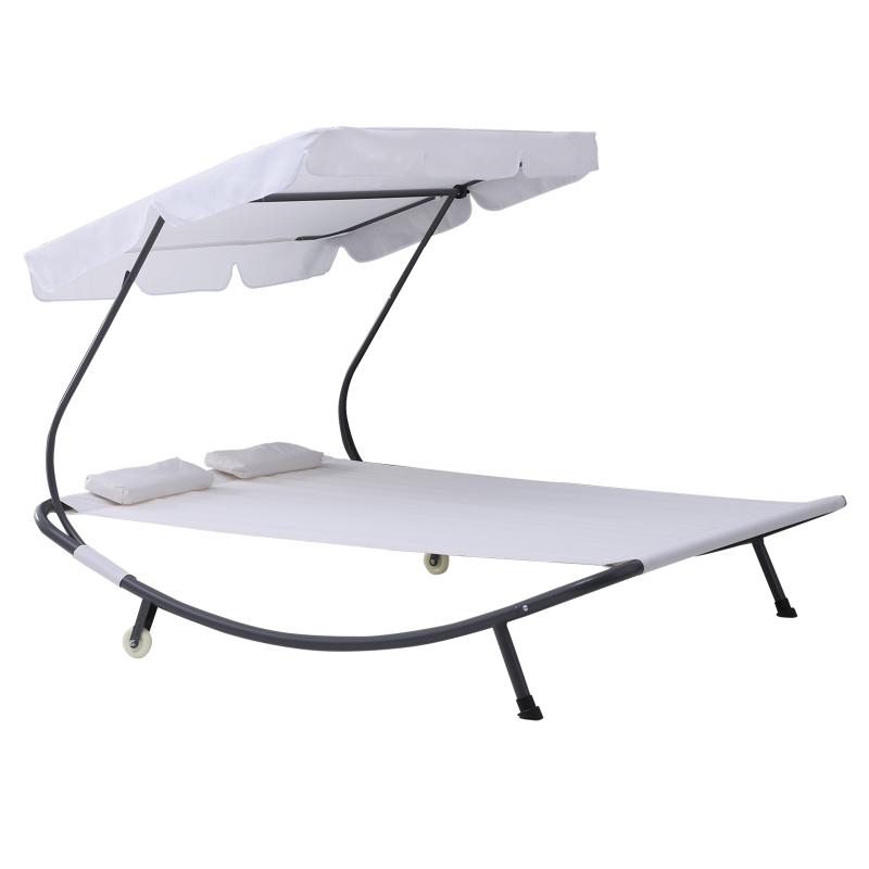 Outsunny® Doppelliege Sonnenliege rollbar mit Dach Stahl Cremeweiß