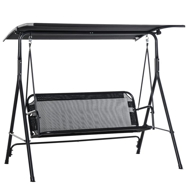 Outsunny® 3-Sitzer Schaukelstuhl Gartenschaukel mit verstellbarem Vordach Schwarz