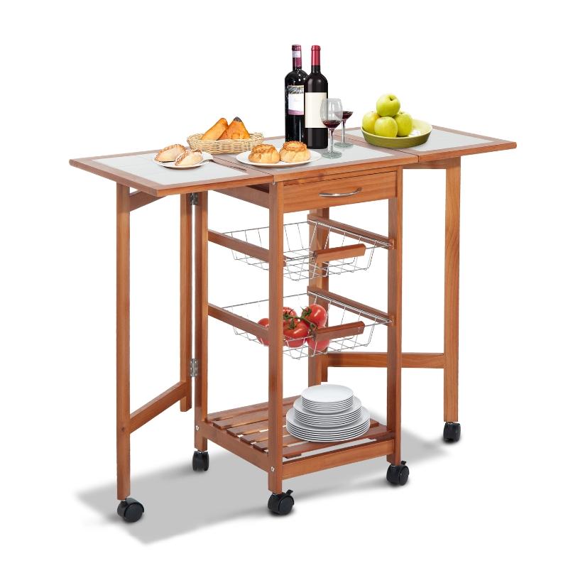 HOMCOM® Servierwagen Küchenwagen mit Schubladen und Rollen | Holz | 91 x 37 cm | Natur