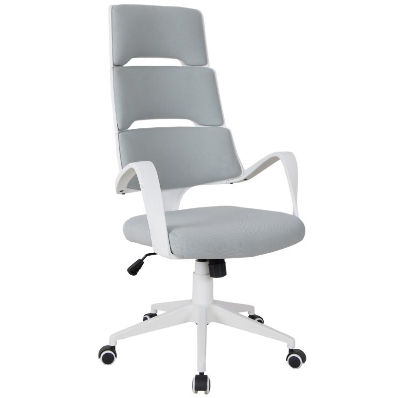 Vinsetto® Bürostuhl Drehstuhl Kippfunktion Leinen Grau Weiß