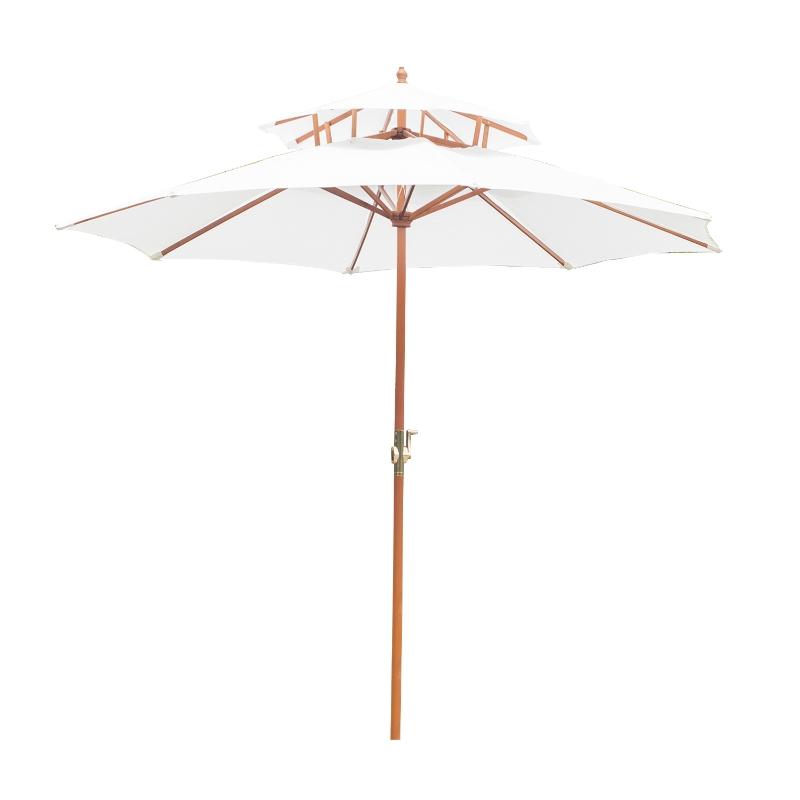 Outsunny® Holz Sonnenschirm Gartenschirm Balkonschirm Doppeldach 2,7m
