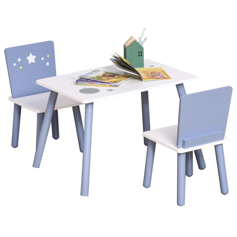 HOMCOM® 3-tlg.Kindersitzgruppe mit Kindertisch Kinderstuhl Kindermöbel Blau+Weiß