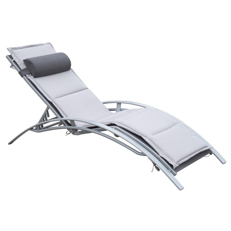 Outsunny® Gartenliege Alu Sonnenliege Gartenstuhl Relaxsessel Liegestuhl verstellbar