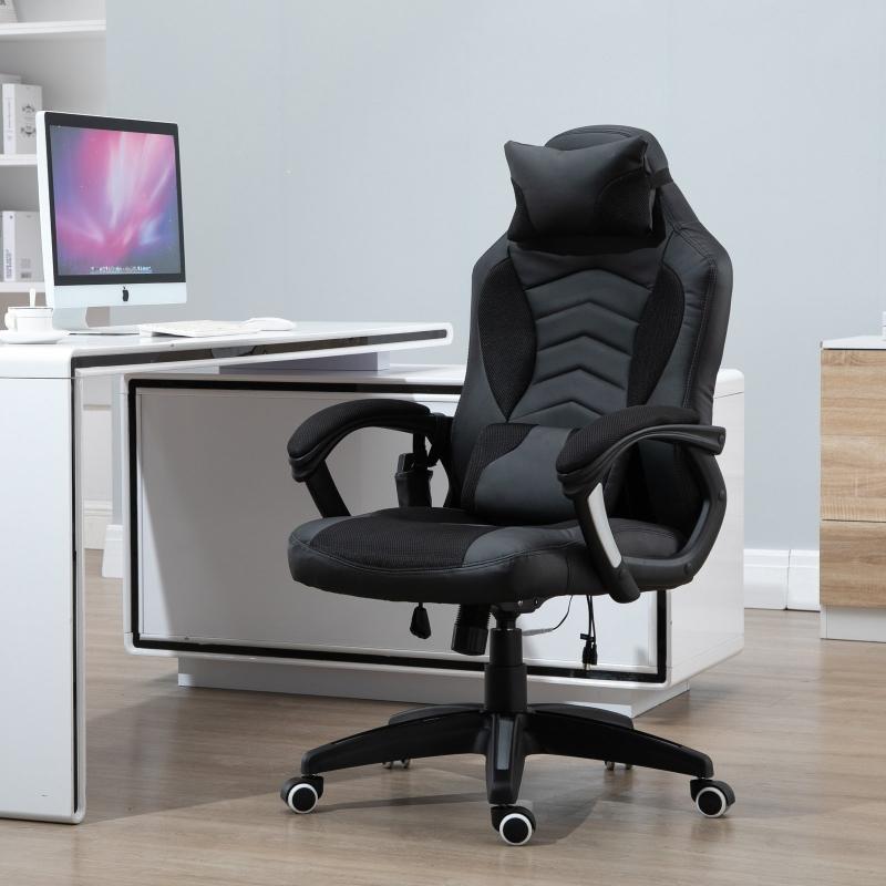 HOMCOM® Drehstuhl Gaming Massagefunktion Schwarz