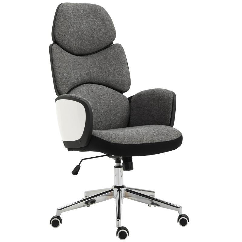 Vinsetto® Bürostuhl Drehstuhl Leinen Dunkelgrau Weiß