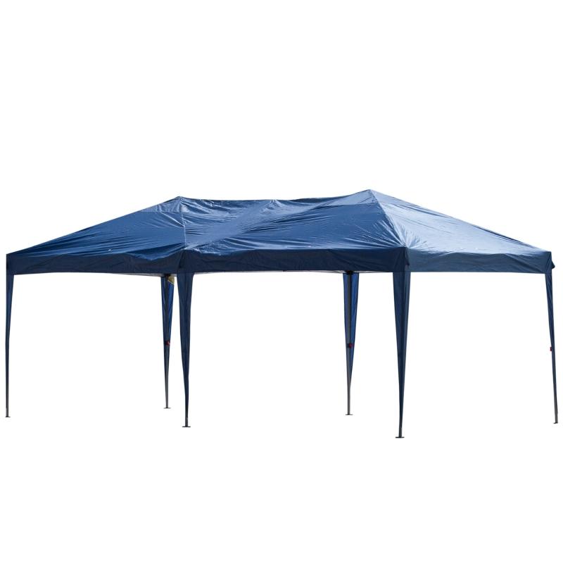 Outsunny® Pop-up Pavillon Gartenzelt höhenverstellbar UV-schutz Dunkelblau 6 x 3m