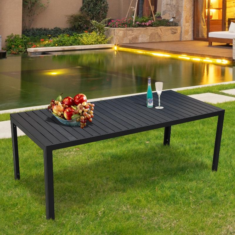 Outsunny® Gartentisch Terrasse WPC Aluminium schwarz