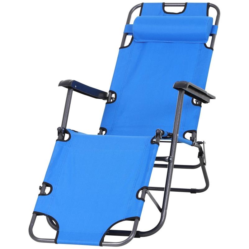 Outsunny® Strandliege Sonnenliege Relaxliege Gartenliege Klappbar 2-Stufig Kissen Blau