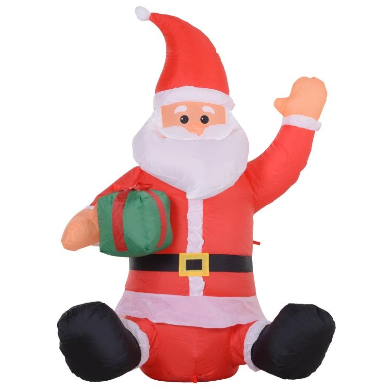 HOMCOM® LED-Weihnachtsmann | Selbstaufblasend | mit Geschenk | 70 x 50 x 120 cm | Rot