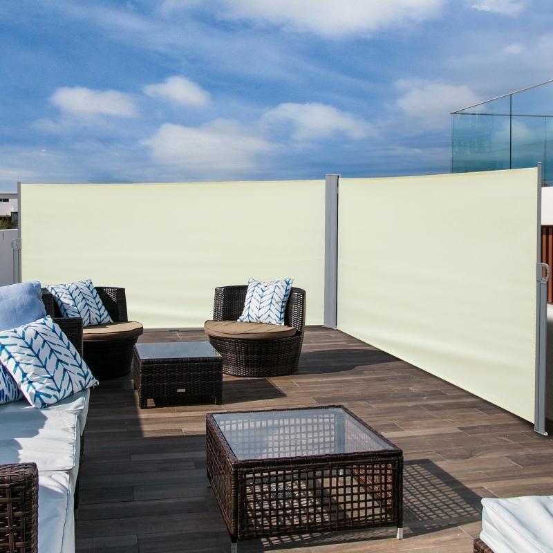 Outsunny® Doppel-Seitenmarkise Sichtschutz Seitenrollo Windschutz Polyester Creme L6xH1,6m