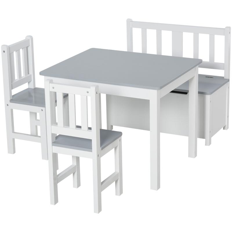 HOMCOM® 4-tlg.Kindersitzgruppe Kindertisch Kinderstuhl Kinderbank Kindermöbel Grau