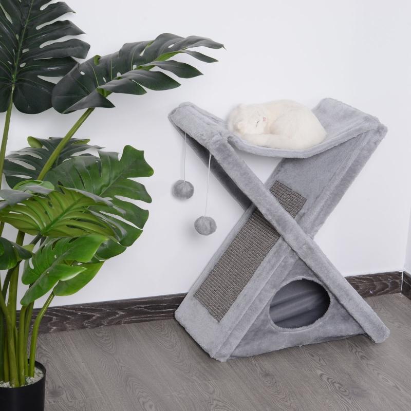 PawHut® Katzenturm Kratzbaum Katzenbaum mit Höhle und Hängematte Sisal Spanplatte Grau 50 x 32 x 65 cm