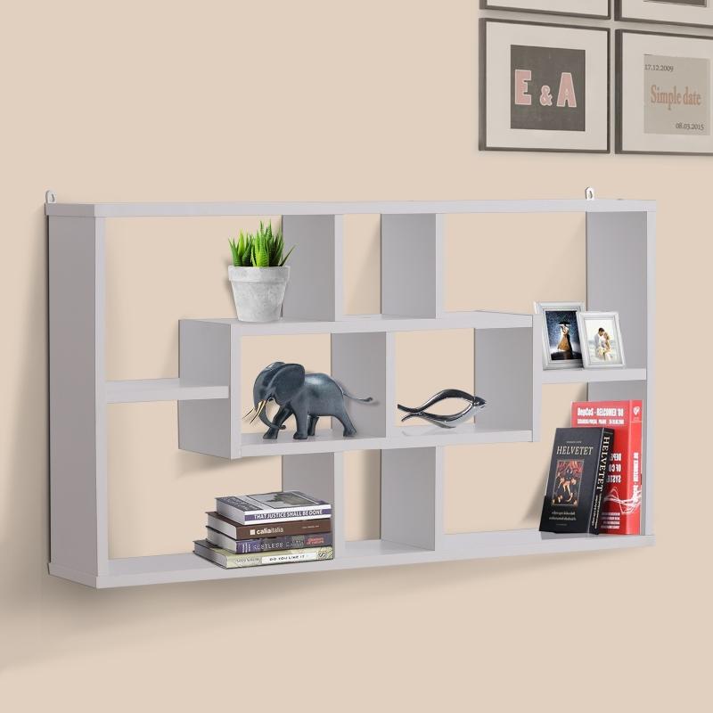 HOMCOM® Wandregal Hängeregal Schweberegal Bücherregal Wandboard Organizer Holz Weiß 85 x 14,5 x 47,5 cm