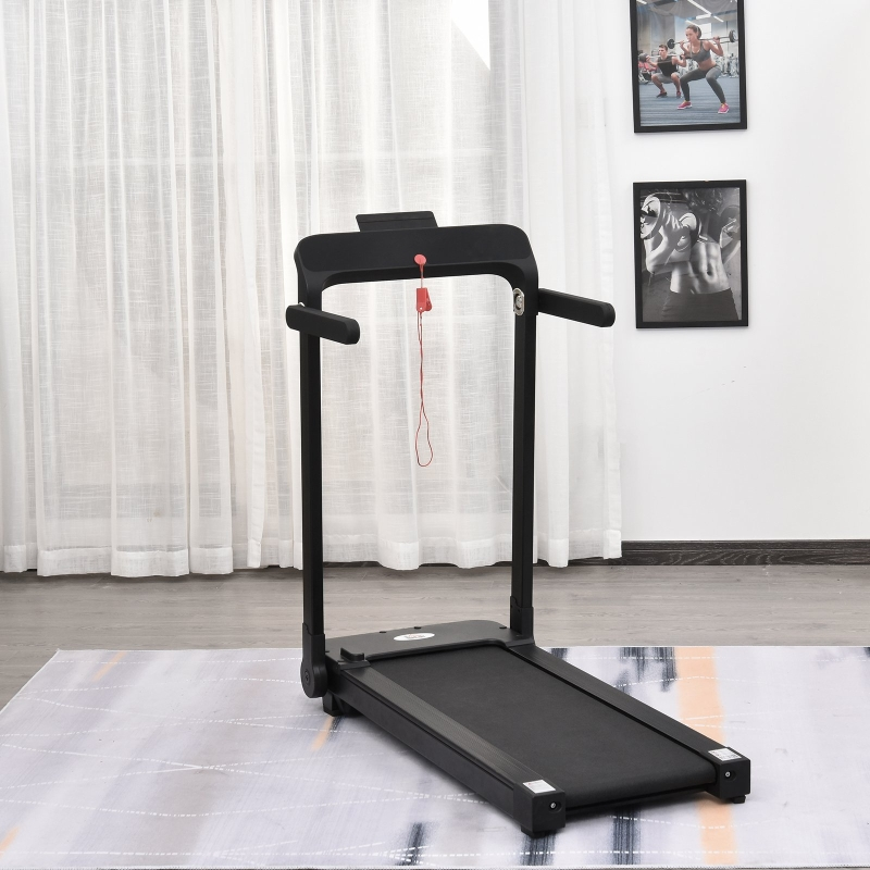 HOMCOM Home Laufband, Fitnessgeräte mit LED Display, Faltbar, Schwarz