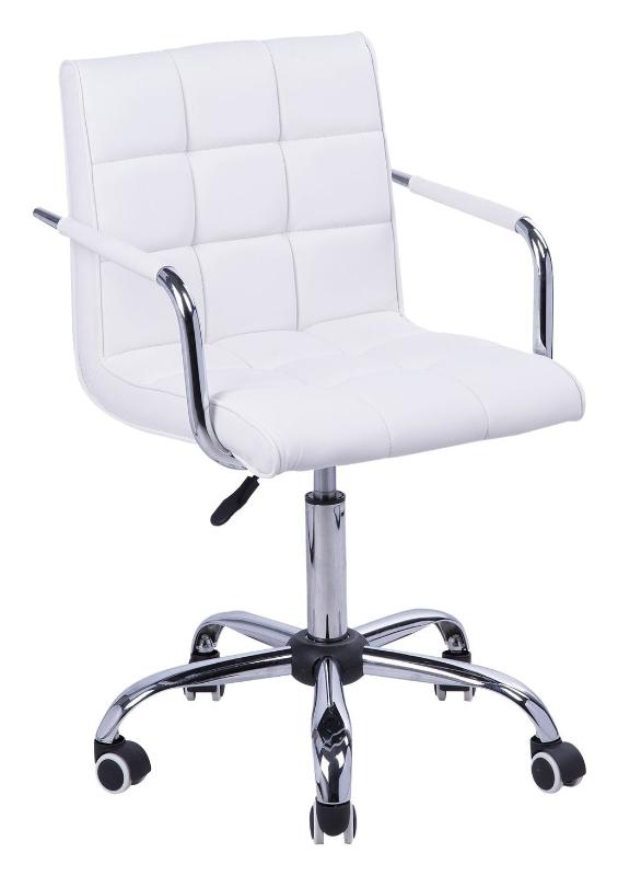 HOMCOM® Drehstuhl Rollen Kunststoff 52,5 x 54 x 82–96 cm Weiß, Silber